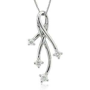 14k White Gold Ribbon Diamond Pendant Necklace (GH, I1 I2