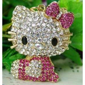 Cute Crystal Rose Pink Hello Kitty with Keychain Office