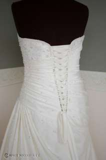 Mori Lee 4606 Ivory Satin Shirred Laced Wedding Dress 14 NWT