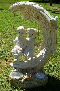 GARDEN ANGEL WING SWING GIRL BOY SOLAR POWERED LIGHT