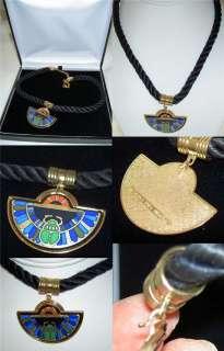 MICHAELA FREY WILLE Egyptian Green Scarab 24K Enamel Half Moon Pendant