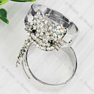 5x Bling Cat Rhinestone Crystal Cute Adjustable Ring S9