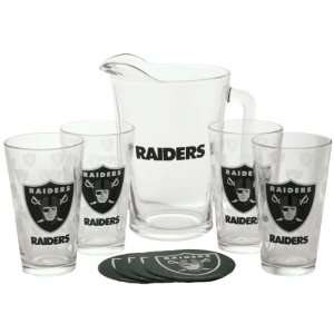 Oakland Raiders   Logo Pitcher Set: Kitchen & Dining