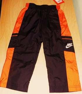 Nike Boys Athletic Sweat Wind Pants SZ 3T Side Stripes Black Orange