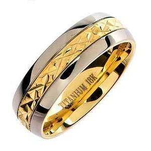 18K Gold Plated Facet Solid Titanium Wedding Ring Band R108 Jewelry