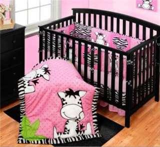 Baby Girls Nursery Pink Black White ZEBRA STRIPE & POLKA DOTS BEDDING