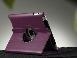 Rotating PU Leather Smart Cover Case For New iPad 3 3rd W/ Screen Film