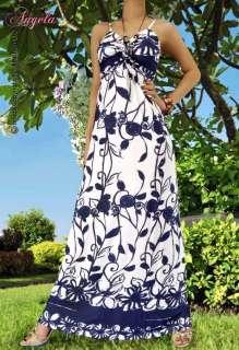 NEW Floral White Ladies/Women Summer Long Maxi Dress Size Sz M L 6 8
