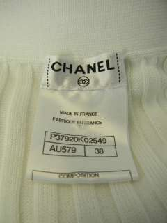 35 198 CHANEL Long Ribbed White Cardigan Lion Buttons Sz 38 Pristine