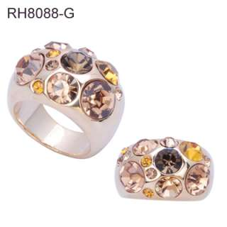 Fashion Ring w/ White, Gold, Purple, or Black Crystals