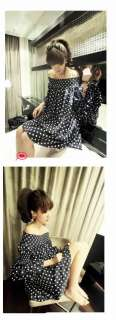 Boho New Arrival Casual Loose off shoulder Polka Dot Shirts Blouses