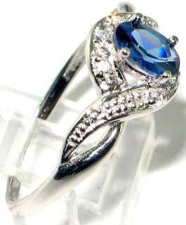 Latest collection Fabulous Blue topaz .925 Silver Ring size 8.5