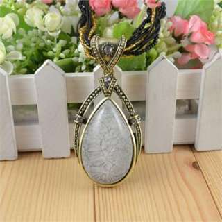 Antique Cocktail Multi Chain Resin Bead Drop Pendant Crystal Necklace