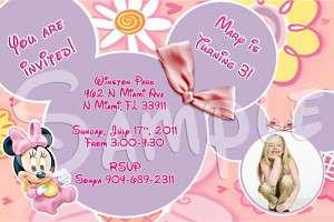 Baby Minnie Mouse Custom Birthday Invitation w/envelop