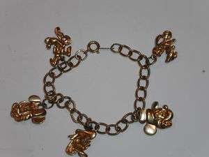 Vintage Disney charm bracelet,Mickey,Pluto,Donald,more