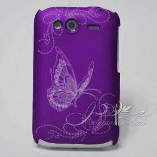 Purple Flowers butterfly hard Cover Case For HTC A510E WILDFIRE S 2