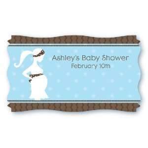 Boy   Set of 8 Personalized Baby Shower Name Tag Stickers: Toys