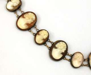 VICTORIAN 9K GOLD HAND CARVED CAMEOS LADIES NECKLACE
