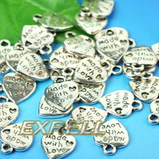 Lot 50 Silver Plated MADE WITH LOVE Heart Charms 0.35 Pendants Beads