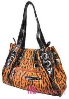 RHINESTONE WESTERN BAG LEOPARD ANIMAL PRINT HANDBAG PURSE BROWN