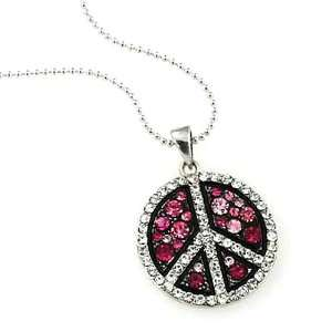 Pink Crystal Peace Sign Pendant Necklace Fashion Jewelry Jewelry