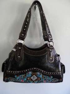 Montana West Black Cross Western Purse Handbag NWT studded