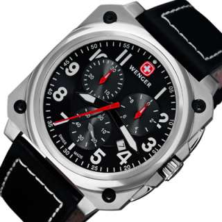 WENGER Swiss Army Chronograph Black Leather Strap Mens Watch 77015