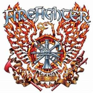 FIREFIGHTER EAGLE FLAME FIRE T SHIRT TEE 2 SIDED