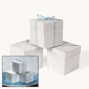 White Pearlized Embossed Favor Boxes   Party Favor & Goody