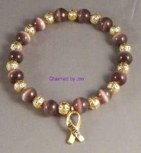 LUPUS Awareness Cats Eye & Filigree Bracelet w/ Charm