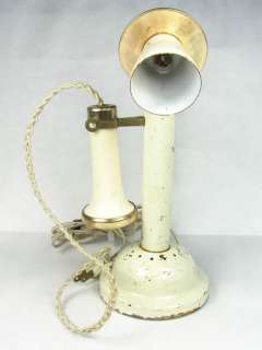VINTAGE OLD CANDLE STICK PHONE LIGHT LAMP TABLE TOP NIGHT LIGHT CHABBY