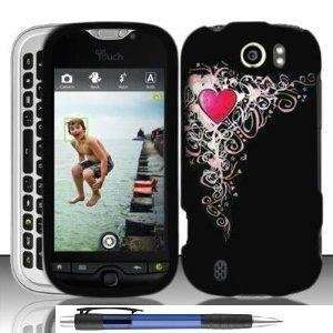 Pink Heart Celebrate Love On Black Protector Hard Cover Case for HTC