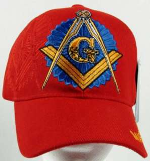 NEW RED MASON / MASONIC SQUARE AND COMPASS BASEBALL CAP/HAT