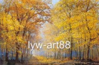 Original Oil painting landscape art Autumn maple forest