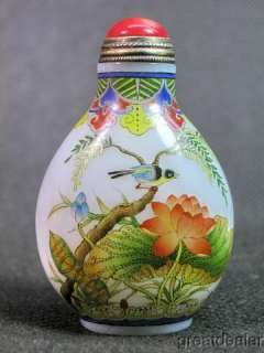 Fine Water Lily&Bird Hand Painted Glass Snuff Bottle