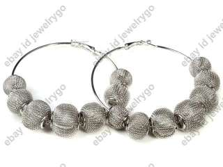Basketball Wives POParazzi Mesh Ball Beads Bling Hoops Rhinestone Hoop