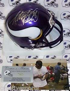 ADRIAN PETERSON HAND SIGNED VIKINGS MINI HELMET w/COA