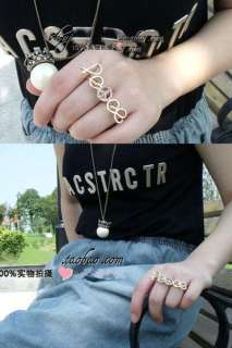 HOT Fashion Two Fingers Exquisite Crystal Golden Peace Sign Double