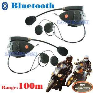 2X 100m Bluetooth Motorcycle Helmet Intercom Interphone