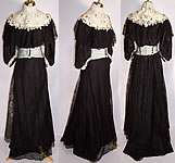 Victorian Black Chantilly & White Lace Rosette Ball Gown Dress Bodice