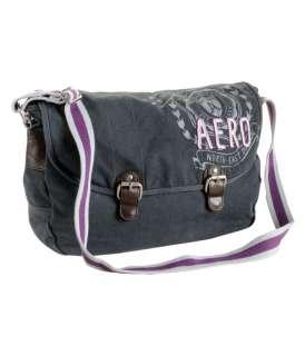 BRAND NEW AEROPOSTALE WOMEN BLACK GRAY BEIGE SCHOOL MESSENGER BAG