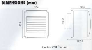 CENTRO 220HTS VENT AXIA AIRVENT CENTRIFUGAL KITCHEN FAN