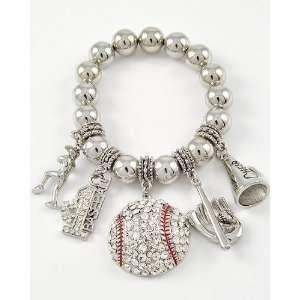 Antique Silver Tone Stretch Bracelet ~ Rhinestone Studded