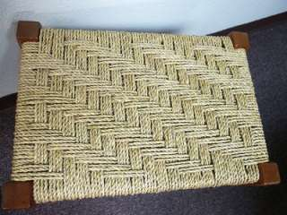 APPALACHIAN MAPLE WOOD & WOVEN ROPE STOOL VINTAGE VERY GOOD COND