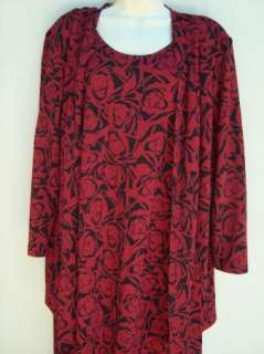 VANY Womens Black Red Sleeveless Dress & Matching Jacket 16 16W Plus
