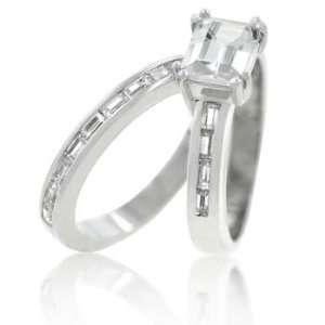 CZ WEDDING RINGS   Asscher Cut CZ Wedding Ring Set Size 10
