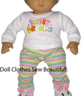 DOLL CLOTHES fits BITTY BABY SWEET DREAMS Knit Pajamas