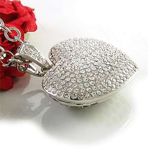 Bling White Clear 3D Heart Crystal Pendant Necklace 396