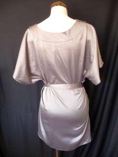 Gray Jeweled sequin Beaded Babydoll Satin Tunic Dress M