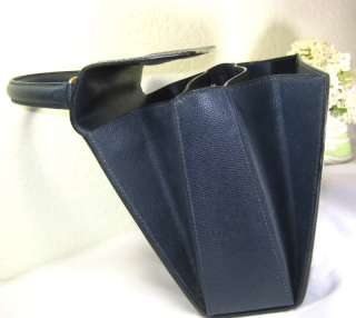 Vintage CELINE Navy Blue Leather Kelly Hand Bag Made in Italy